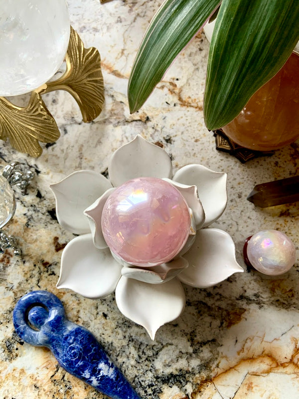 Porcelain Lotus ~ Crystal Sphere Stand or Tea Light Holder