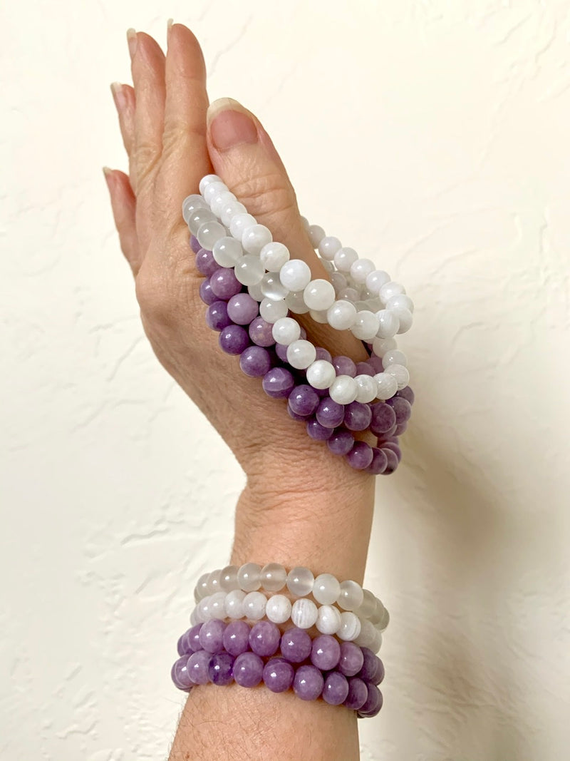 LEPIDOLITE BRACELET, Stretchy Beaded Stacking Bracelets