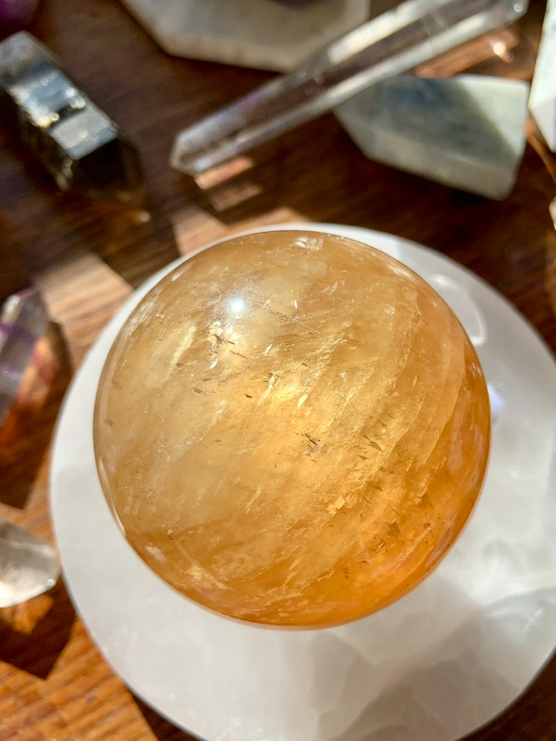 Large SPUN HONEY CALCITE Sphere, # 9