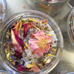 Flower Power Organic Bath Salts, Organic Bath Tea w/ Chamomile, Calendula, Roses, Essential Oil Bath