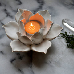 Handmade Lotus Tea Light Holders - Angel Face Botanicals - 1