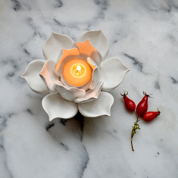Handmade Lotus Tea Light Holders - Angel Face Botanicals - 2