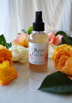 Rose Crystal Hydrating Alchemy Mist, Gem-Infused Rosewater Facial Toner with Rose Quartz