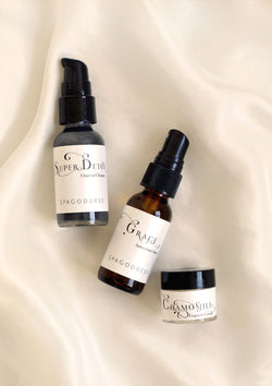Travel Size 3-Step Organic Skin Care Set - Cleanse, Tone + Moisturize - by SpaGoddess Apothecary