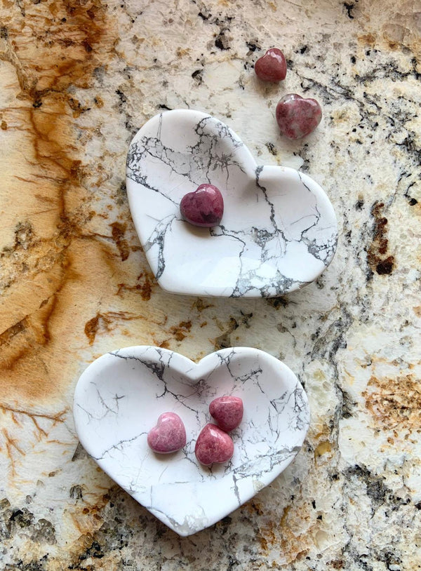 Heart-Shaped HOWLITE BOWL + Rhodonite Mini Hearts