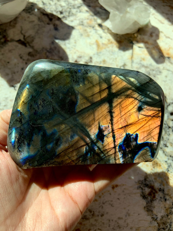 LABRADORITE FREEFORM with Blue + Orange Flash - insight, magic, destiny - activate the third eye, open higher consciousness, a cosmic reboot