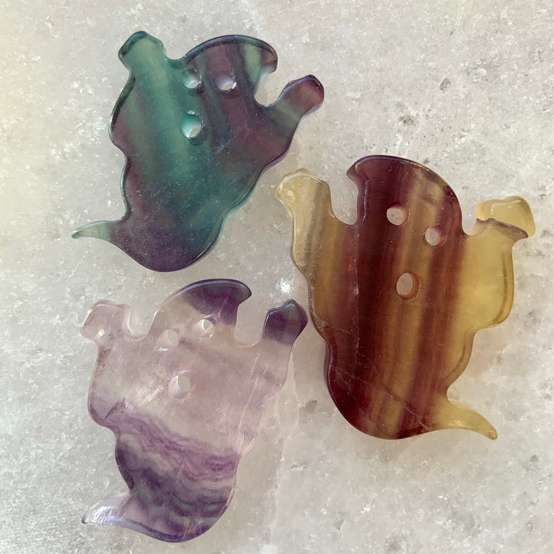 RAINBOW FLUORITE GHOST, Carved Crystal Ghosts, Ghouls, Hand Carved Fluorite, Fluorite Crystal Carvings, Halloween Decor