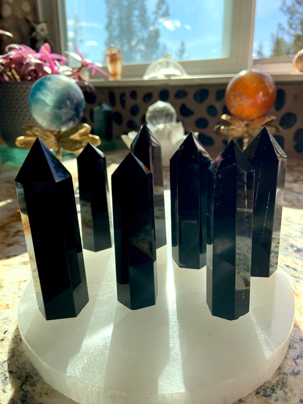 BLACK OBSIDIAN POINTS
