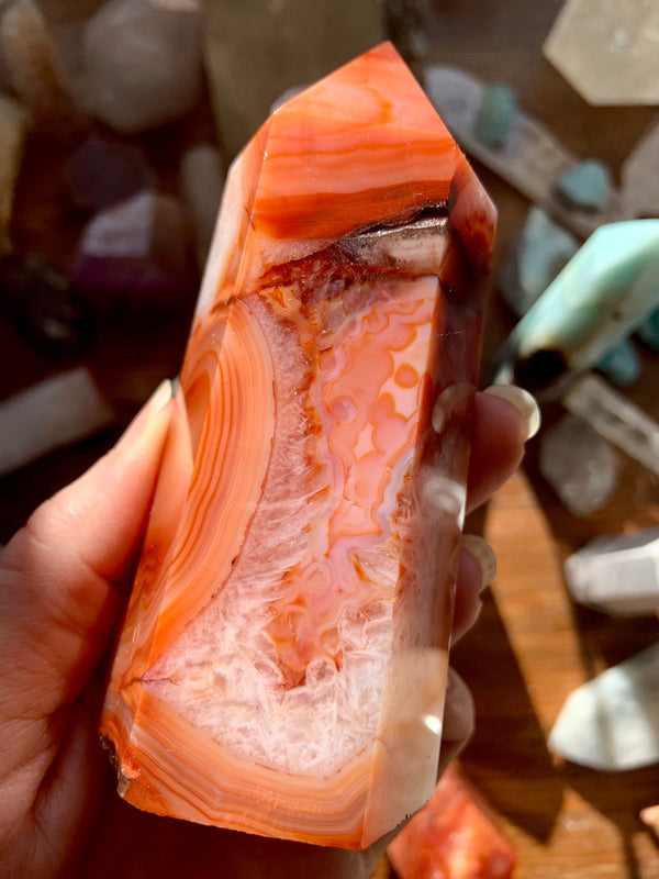 Large CARNELIAN TOWER, Gorgeous High Quality Polished Carnelian Point with Red Agate, Orange Agate + Crystalized Agate Swirls, Crystal Decor