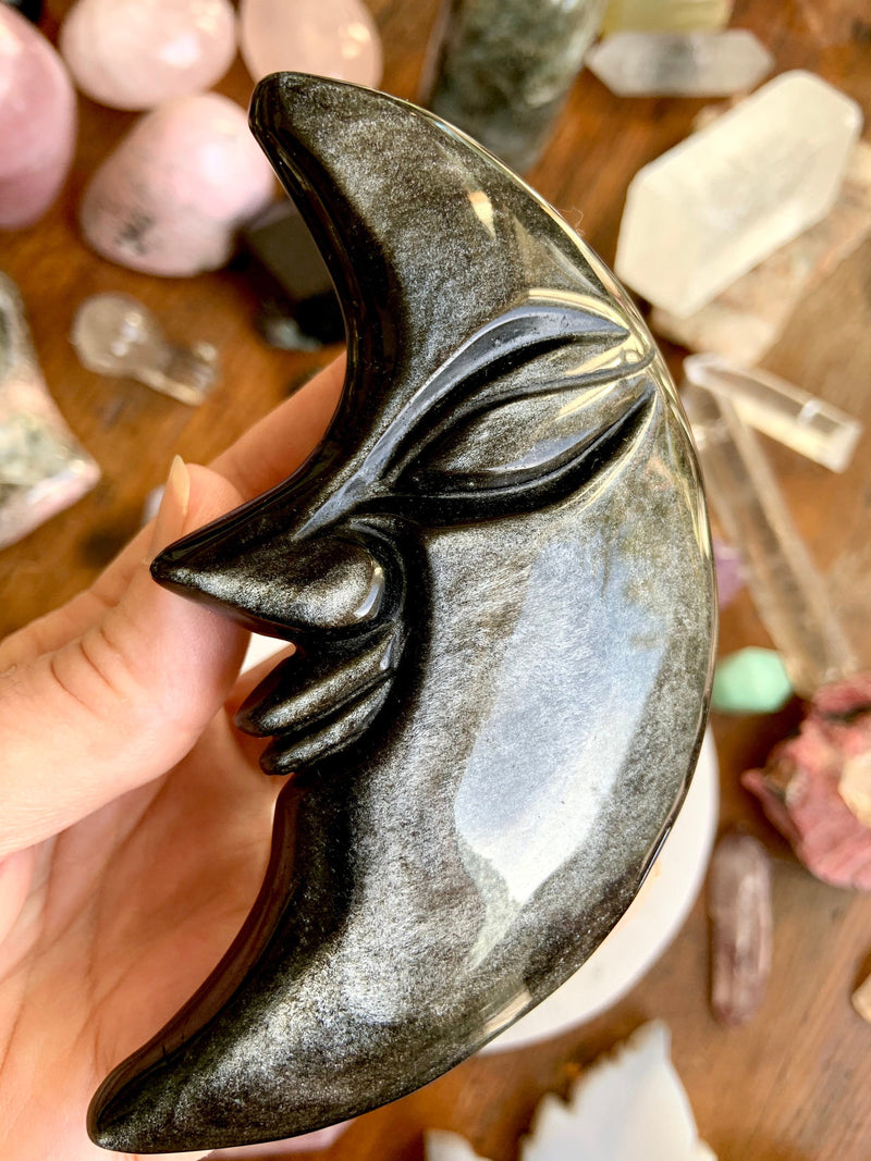 Large BLACK OBSIDIAN MOON for energetic protection. Silver Sheen Black Obsidian clears negative energy. Hand-Carved Moon Face, Crystal Moons