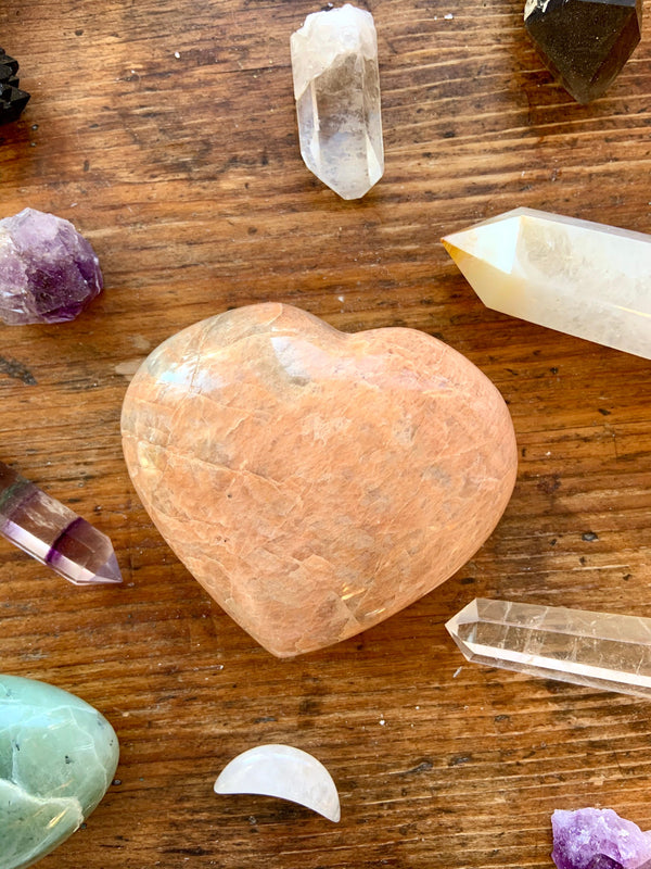PEACH MOONSTONE HEART