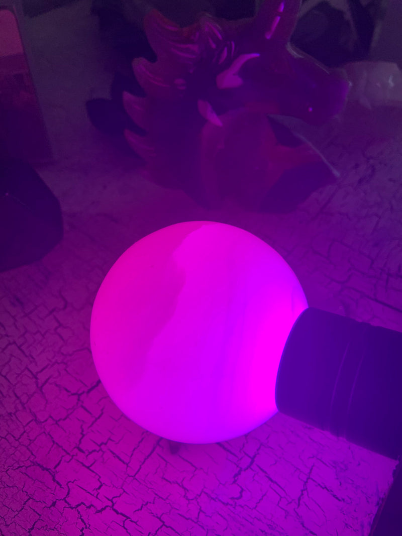 Glowing PINK MANGANO CALCITE Sphere
