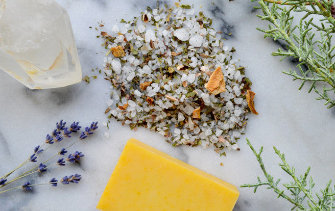 Our Sea Goddess Bath Salts, Sunshine Soap, crystals, lavender, and evergreens