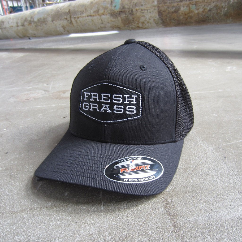 FreshGrass Trucker Hat: Black and White Logo