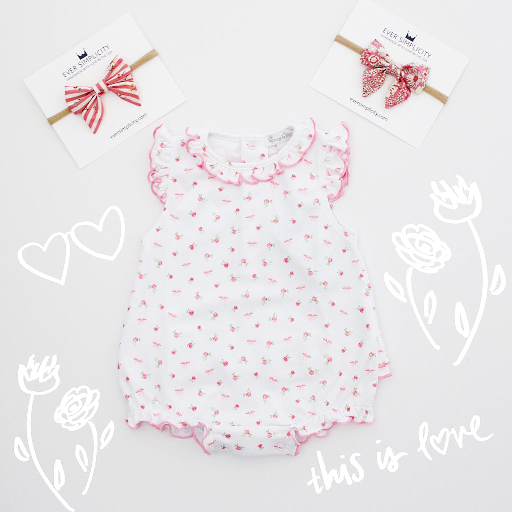 Ever Style Baby Girl Outfit with pink bows-Ever Simplicity