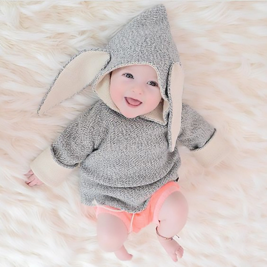 Oeuf kids grey rabbit hoodie-Ever Simplicity