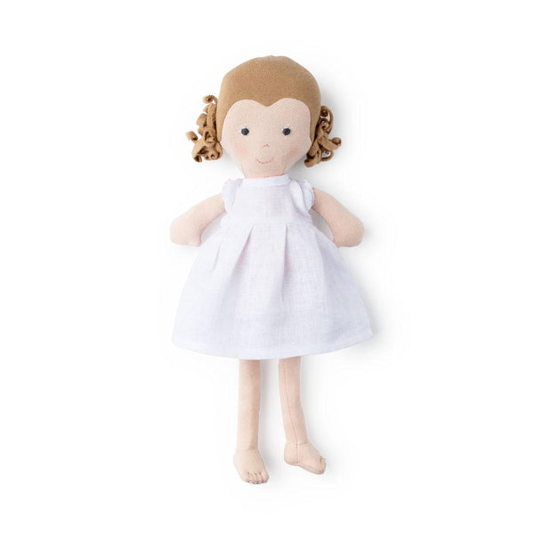 Hazel Village Kids toy Fern in Snowy White Linen Dress - Ever Simplicity