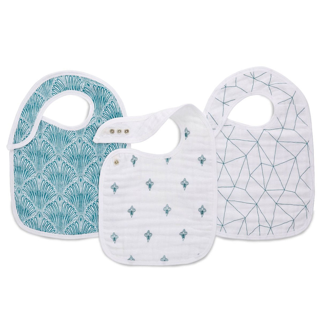 aden + anais Kids accessories Paisley Teal Snap Bib 3 Pack - Ever Simplicity