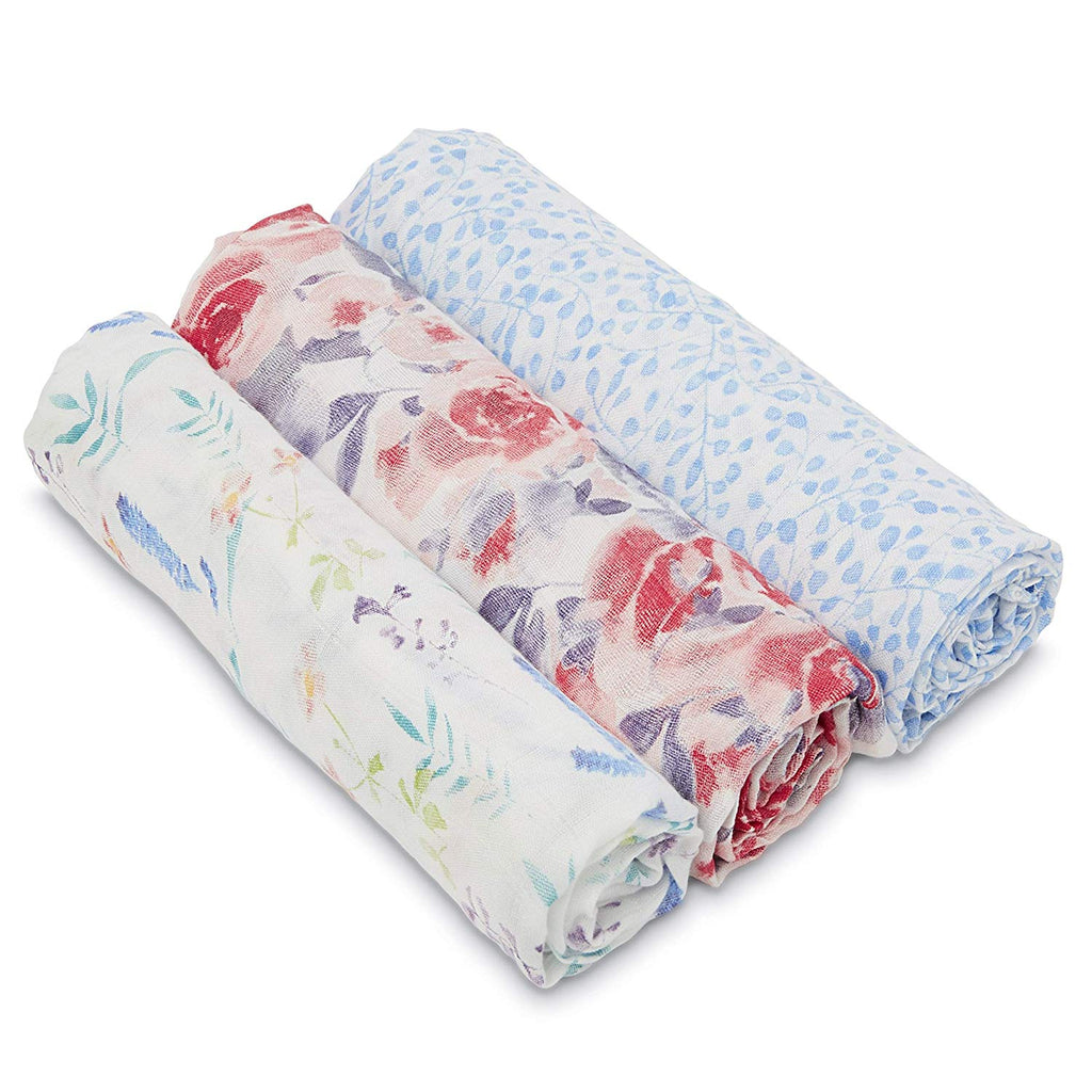 aden + anais Kids accessories Watercolor Garden Silky Soft Swaddle 3 Pack - Ever Simplicity