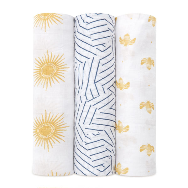aden + anais Kids accessories Golden Sun Silky Soft Swaddle 3 Pack - Ever Simplicity