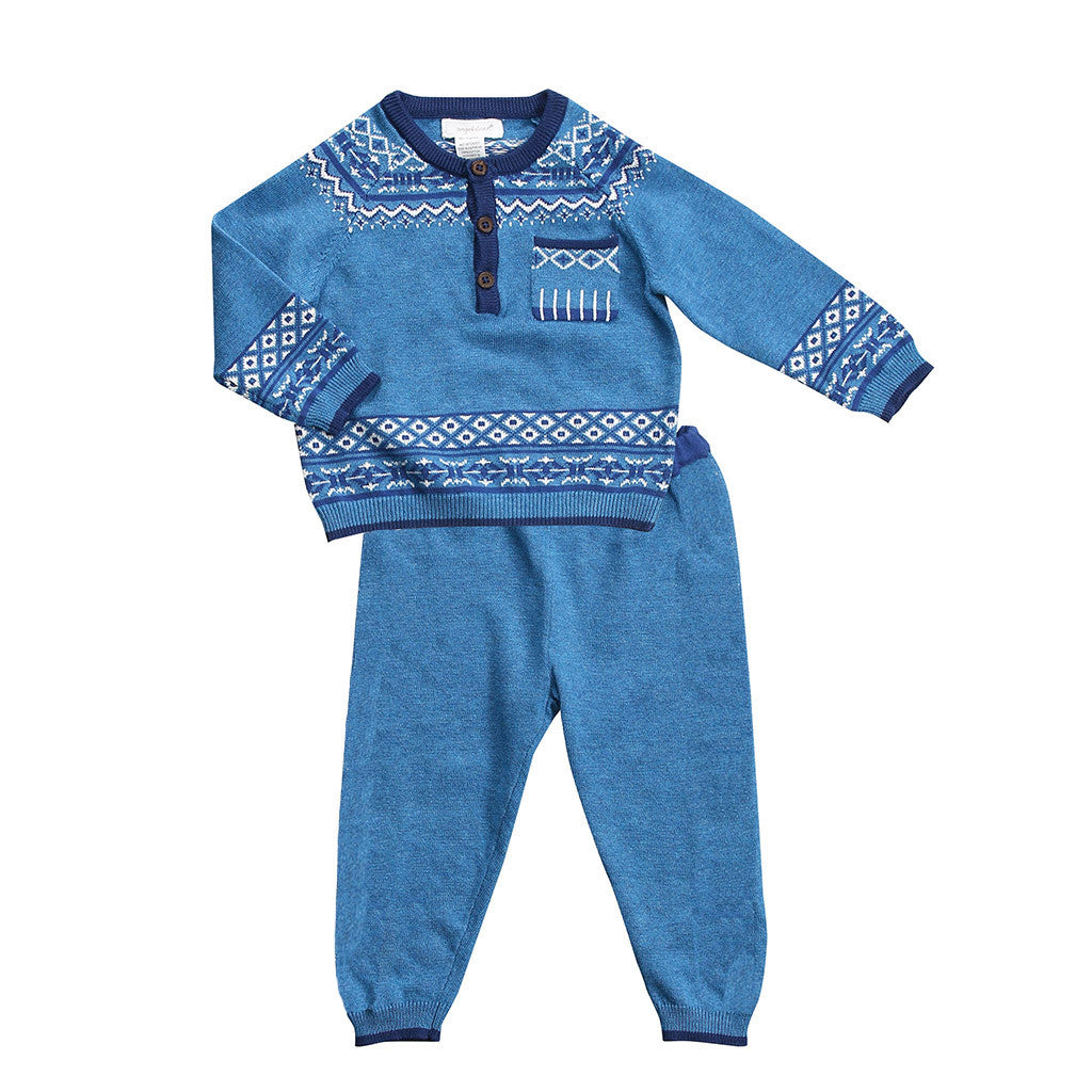 Angel Dear Kids sets Fair Isle Henley Sweater Set - Ever Simplicity