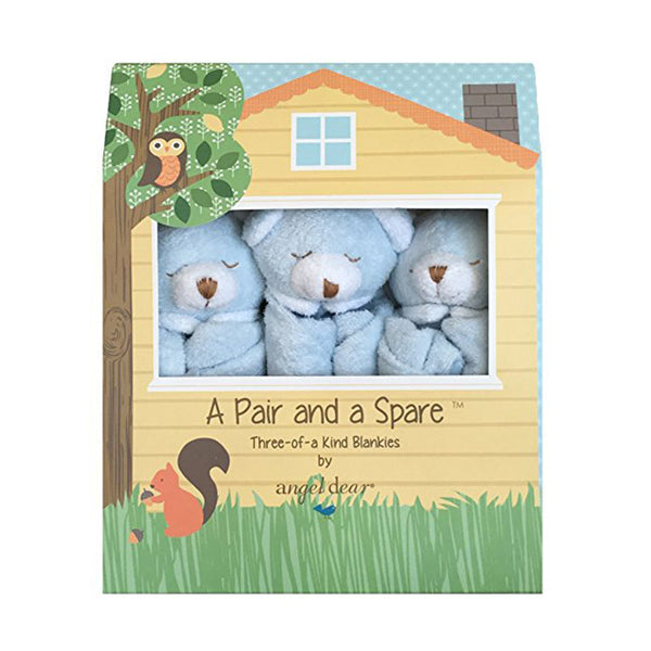 Angel Dear Blue Bear Pair and a Spare Blankies - Ever Simplicity - 1
