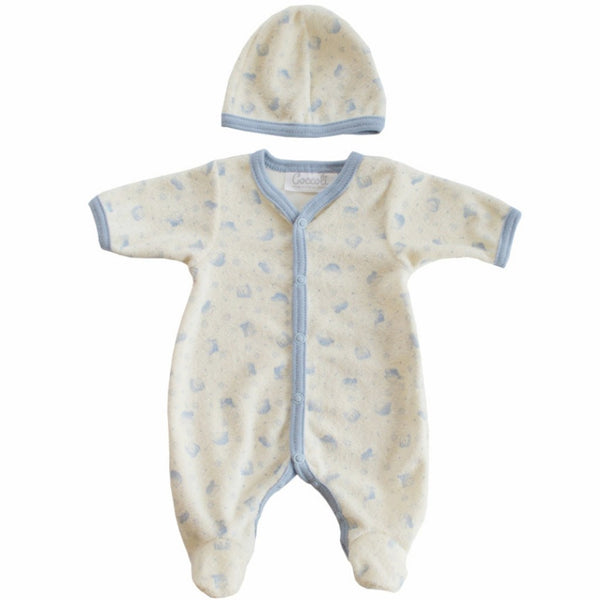 Coccoli Baby bodysuit Preemie Terry Cloth Print Footie with Hat - Ever Simplicity