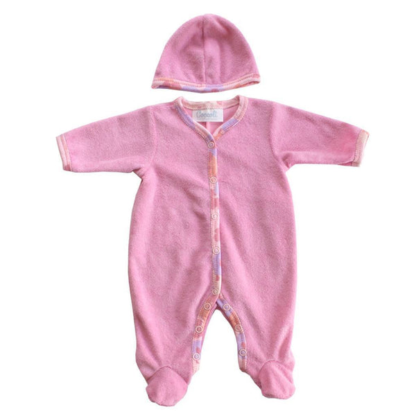 Coccoli Baby bodysuit Pink Terry Cloth Footie with Hat - Ever Simplicity
