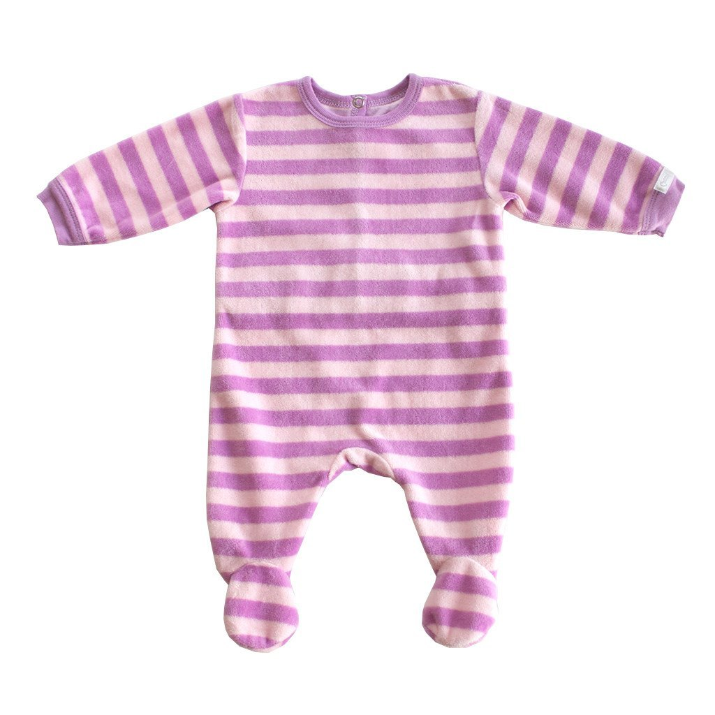 Coccoli Baby bodysuit Purple Stripe Velour Back Open Footie - Ever Simplicity