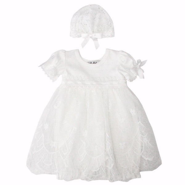 BeBe Gabrielle Baby one-pieces White Tulle Dress Romper W/Hat - Ever Simplicity
