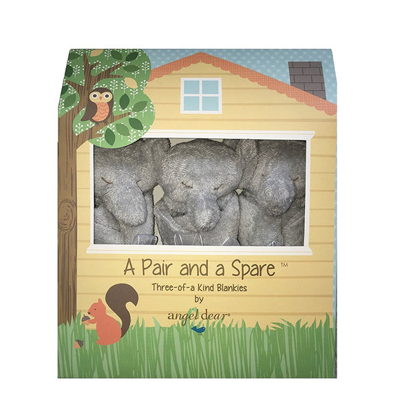 Angel Dear Kids accessories Grey Elephant Pair and a Spare Blankies - Ever Simplicity