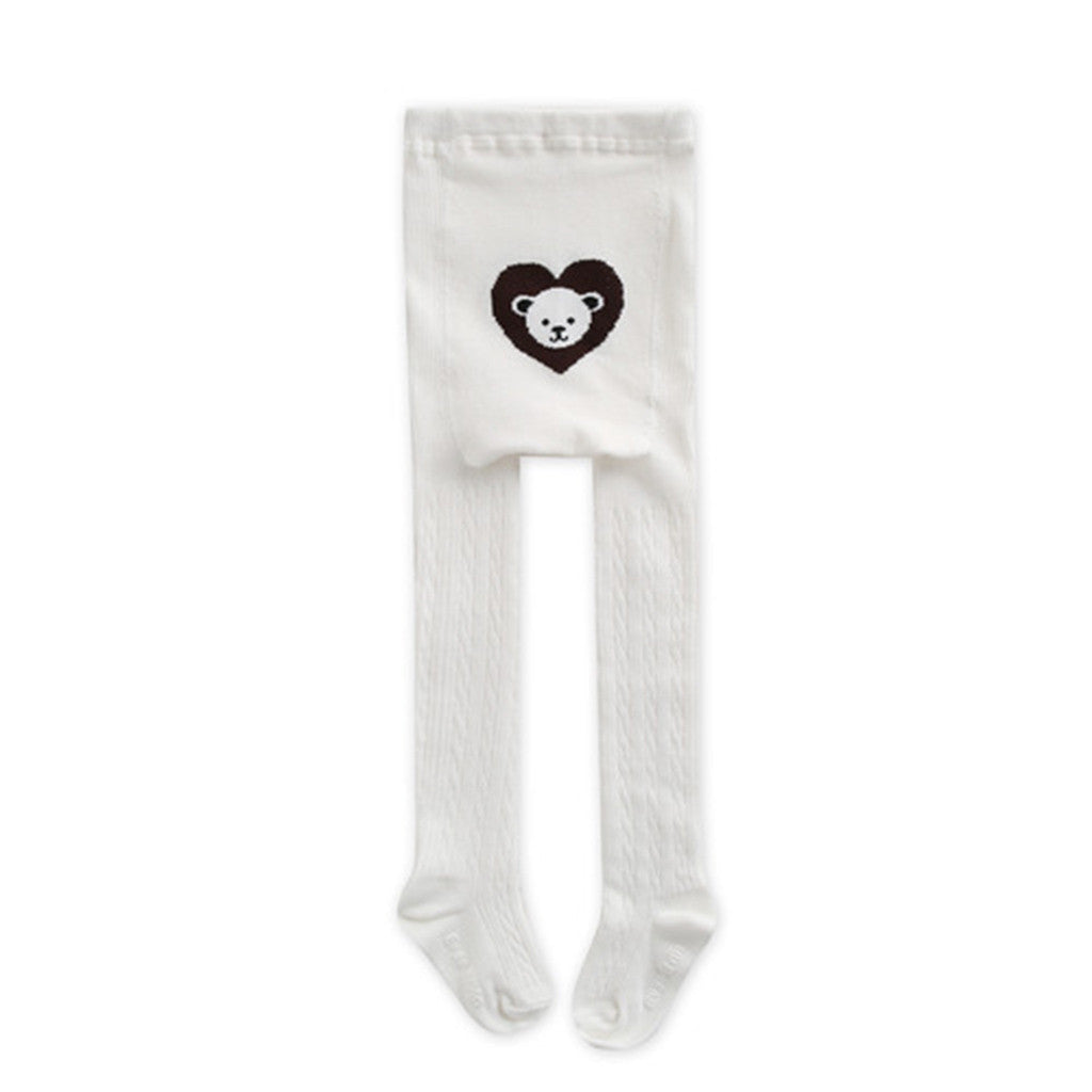 Eva & Elvin Kids accessories Heart Bear Tights-Ivory - Ever Simplicity