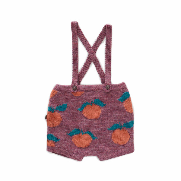 Oeuf Kids bottoms Clementine Suspender Shorts-Mauve/Apricot - Ever Simplicity