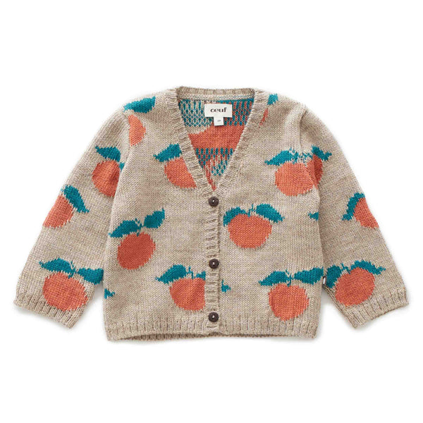 Oeuf Kids cardigans Clementine Cardi-Grey/Apricot - Ever Simplicity