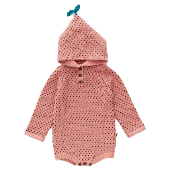 Oeuf Kids one-pieces Hooded Dot Onesie-Peony/Burgundy - Ever Simplicity