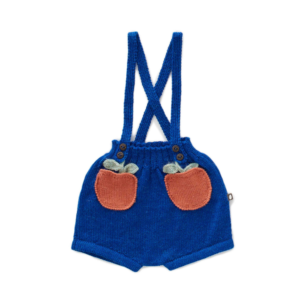 Oeuf Kids bottoms Clementine Pocket Shorts-Electric Blue/Apricot - Ever Simplicity