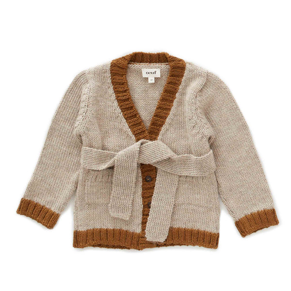 Oeuf Kids cardigans Belted Cardi-Grey/Olive - Ever Simplicity
