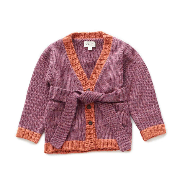 Oeuf Kids cardigans Belted Cardi-Mauve/Apricot - Ever Simplicity