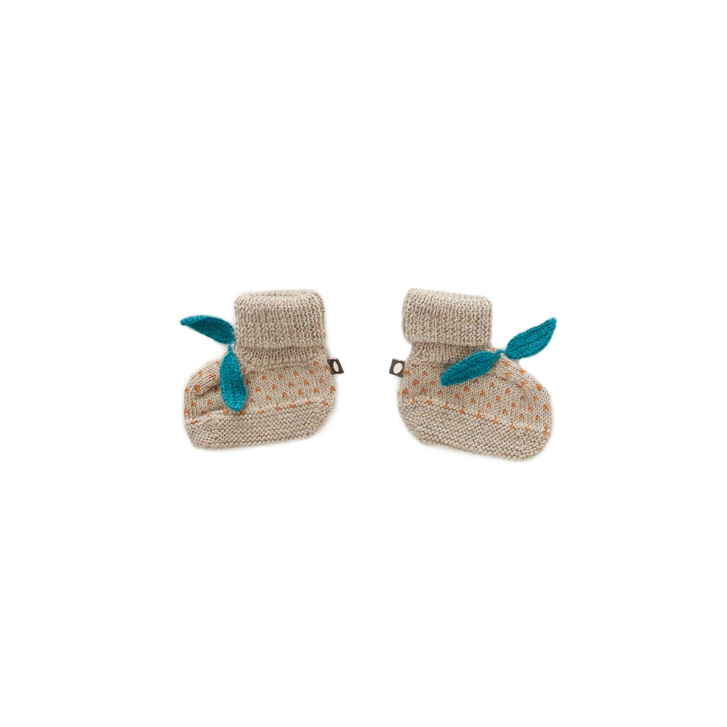 Oeuf Kids accessories Dot Booties-Grey/Ochre - Ever Simplicity