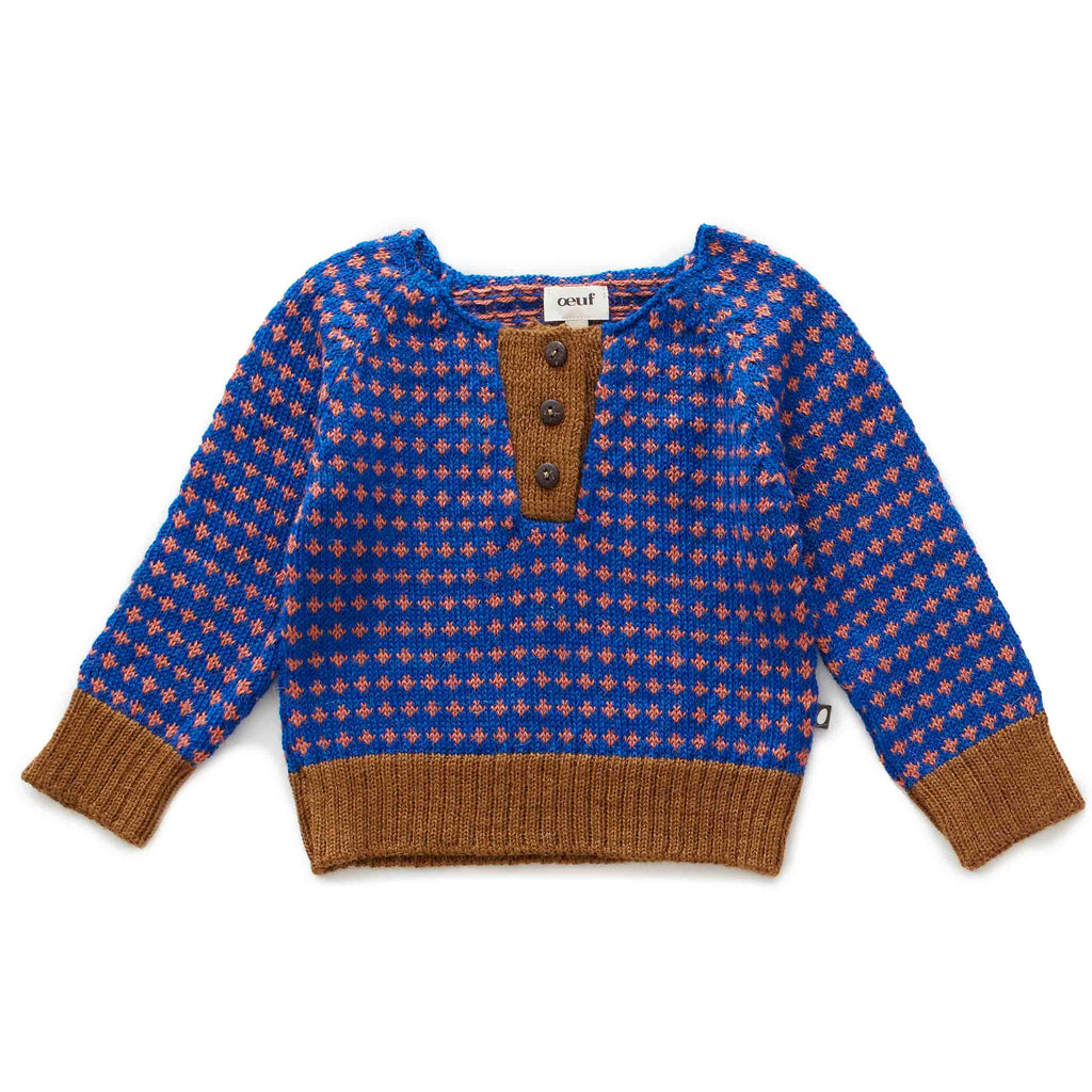 Oeuf Kids tops Henley-Electric Blue/Apricot - Ever Simplicity