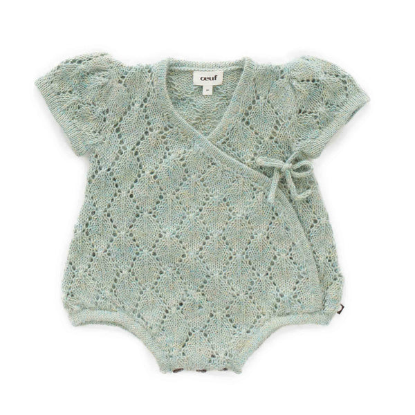 Oeuf Kids one-pieces Pointelle Kimono Onesie-Ocean - Ever Simplicity