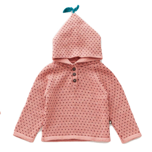 Oeuf Kids cardigans Dot Single Layer Hoodie-Peony/Burgundy - Ever Simplicity