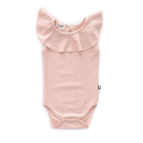 Ruffle Sleeveless Onesie-Light Pink/Rust Dots