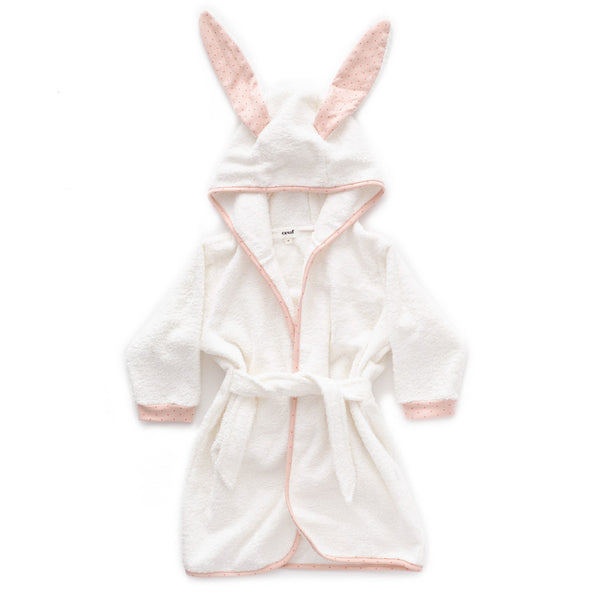 Hooded Robe-Light Pink/Rust Dots