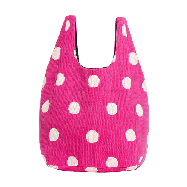 Polka Dot Shopper Bag-Fuchsia