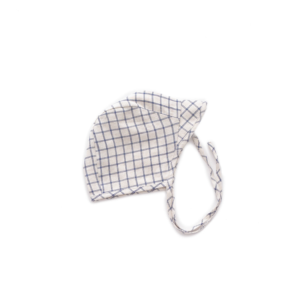 Oeuf Kids accessories Visor Hat-Beige/Blue Checks - Ever Simplicity
