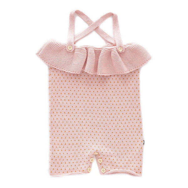 Oeuf Kids one-pieces Ruffle Knit Romper-Light Pink/Ochre Dots - Ever Simplicity