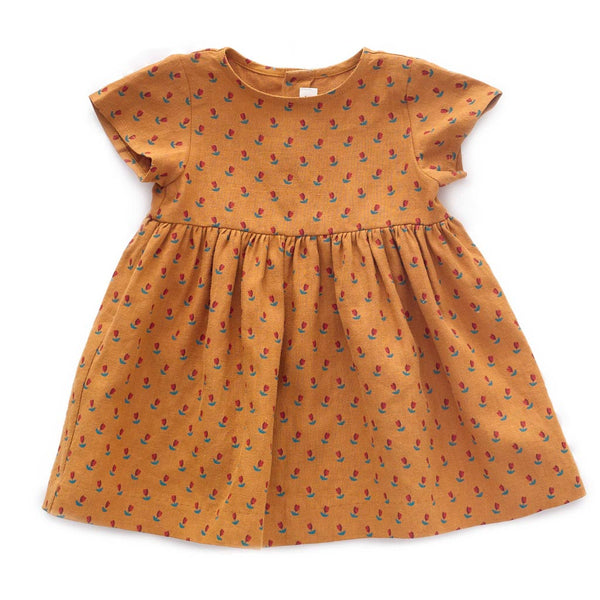 Oeuf Kids dresses SS Dress-Ochre/Tulips - Ever Simplicity