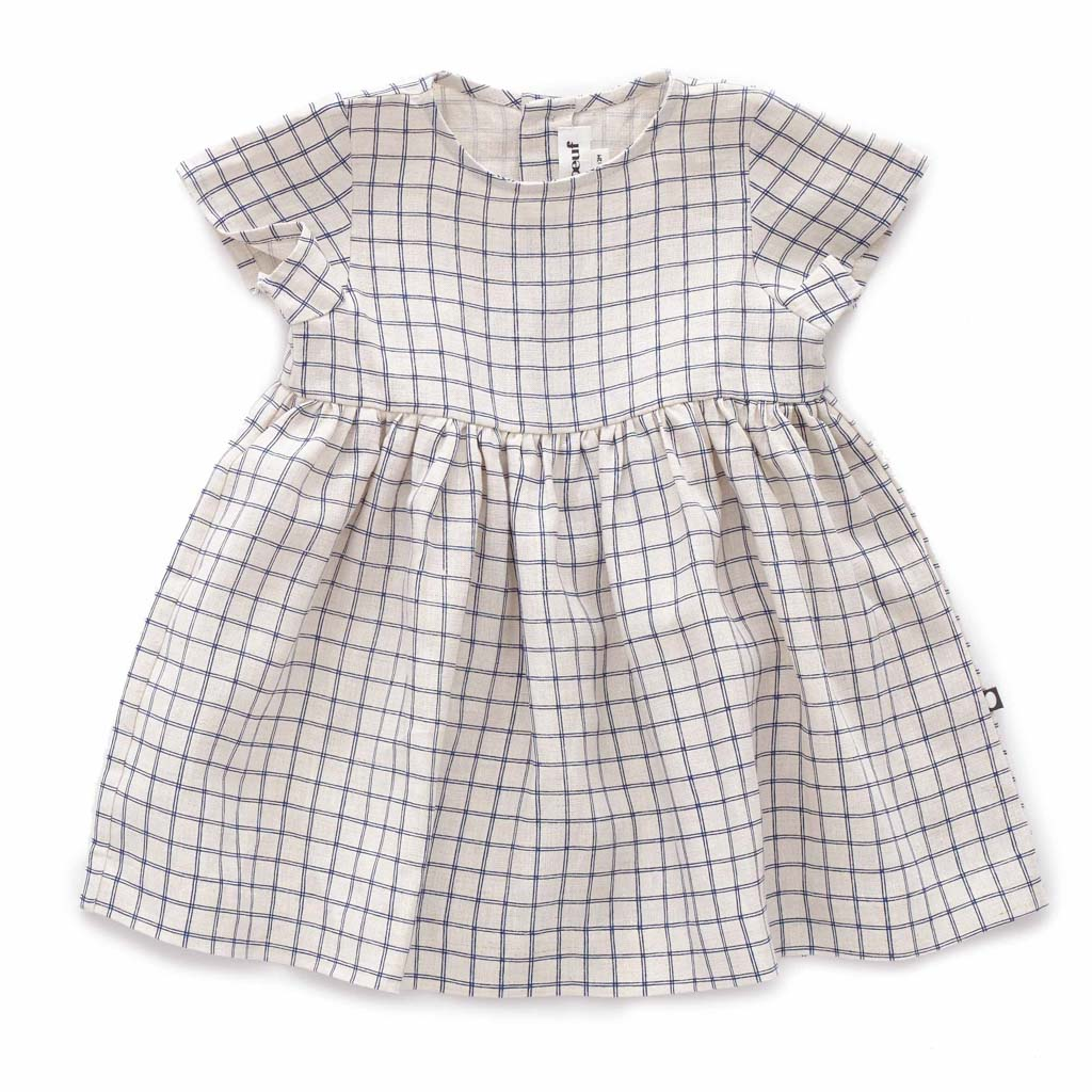 Oeuf Kids dresses SS Dress-Beige/Blue Checks - Ever Simplicity