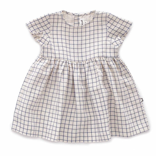 SS Dress-Beige/Blue Checks